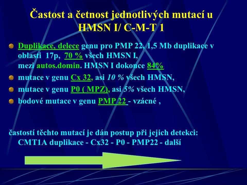 Častost a četnost jednotlivých mutací u HMSN I/ C-M-T 1