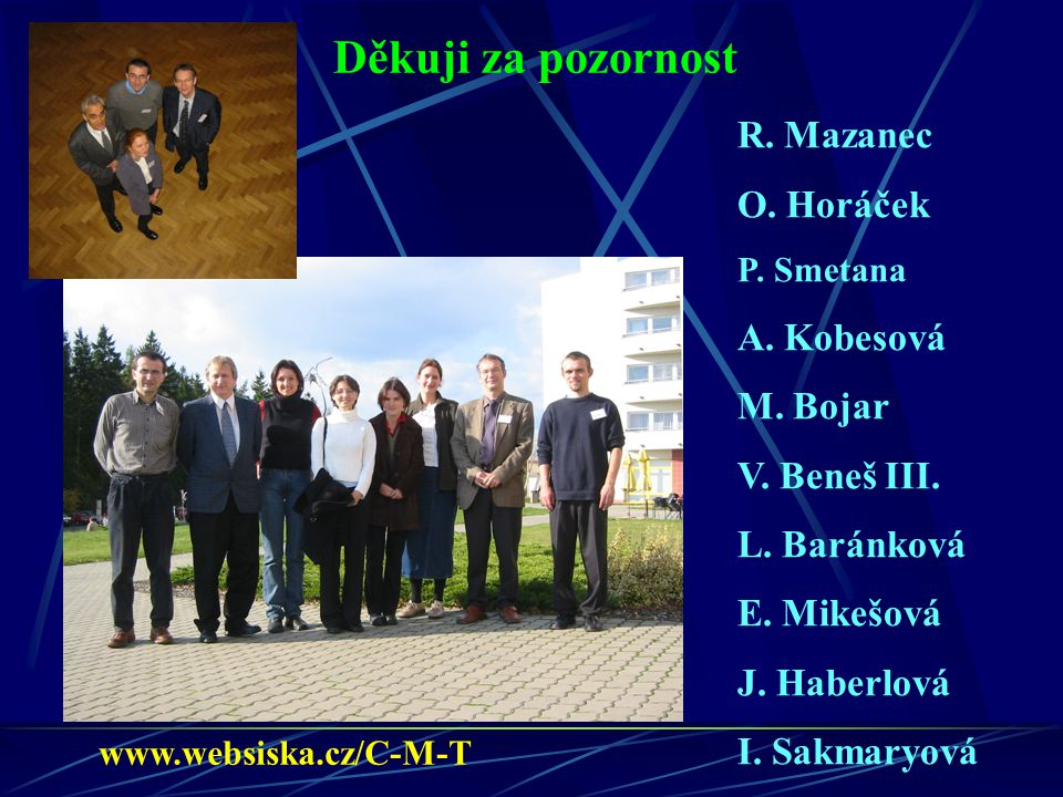 Děkuji za pozornost R. Mazanec O. Horáček A. Kobesová M. Bojar