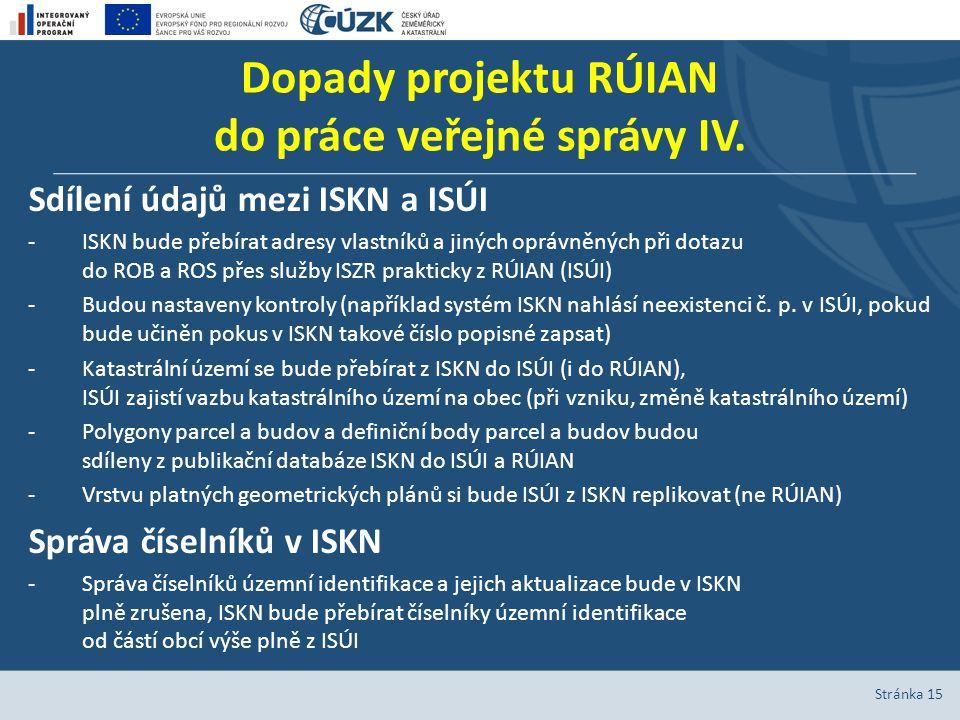 Dopady projektu RÚIAN do práce veřejné správy IV.