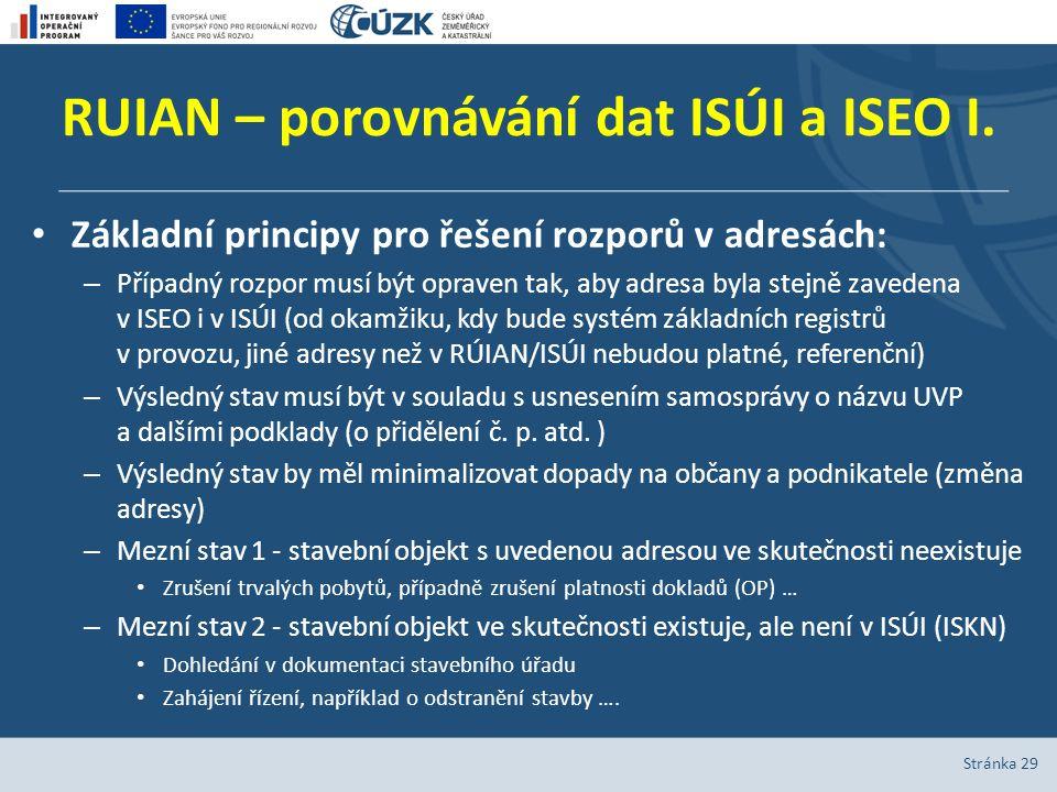 RUIAN – porovnávání dat ISÚI a ISEO I.