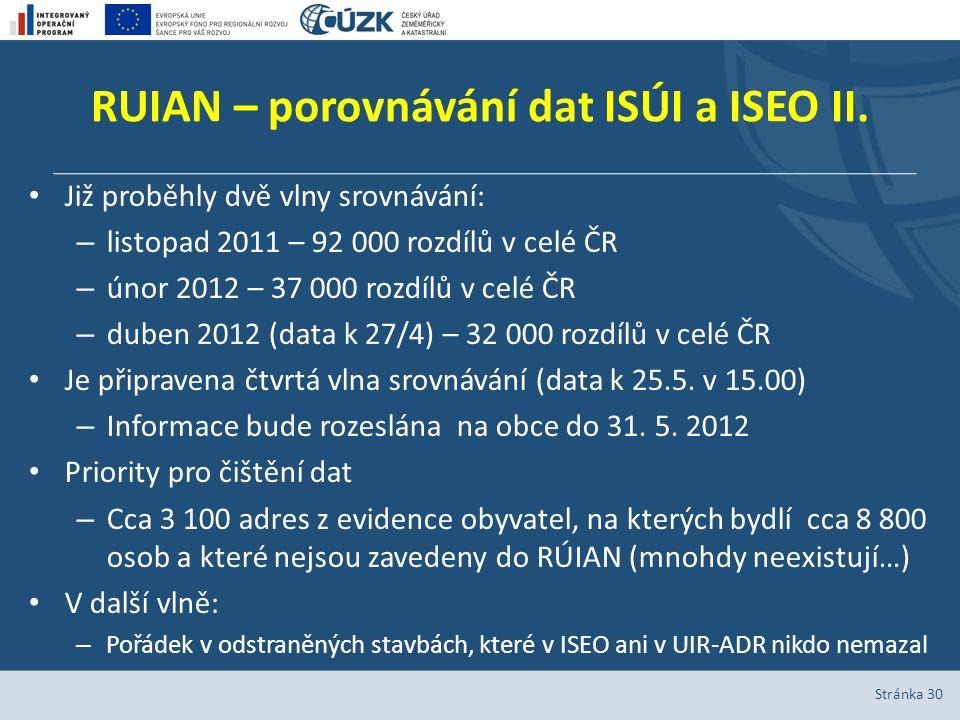 RUIAN – porovnávání dat ISÚI a ISEO II.