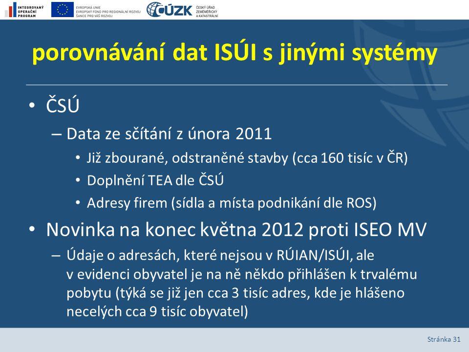 porovnávání dat ISÚI s jinými systémy