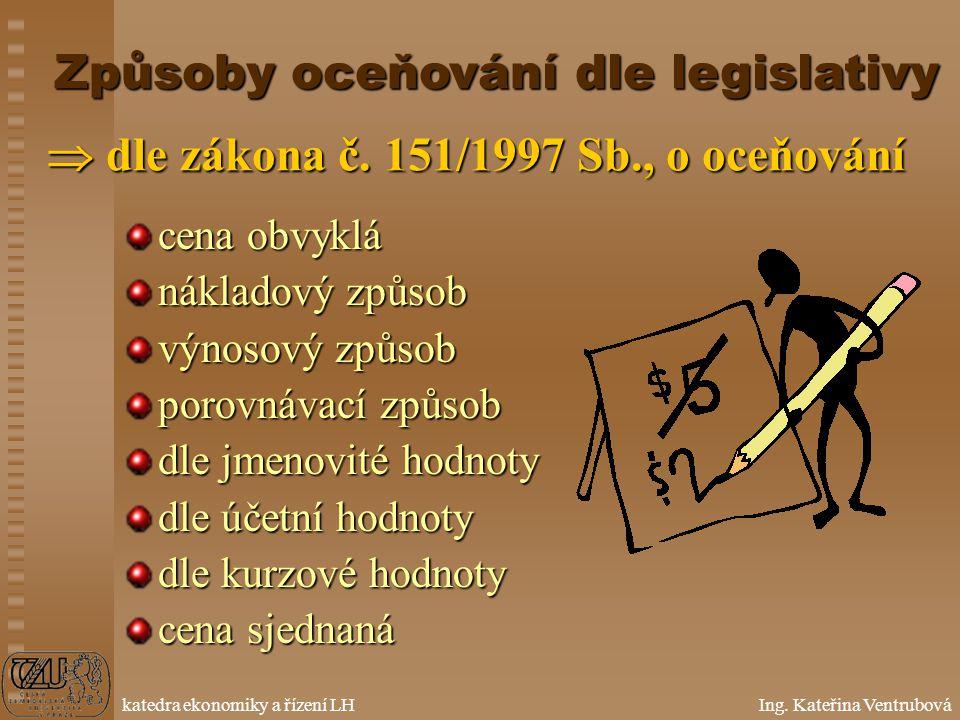 Způsoby oceňování dle legislativy