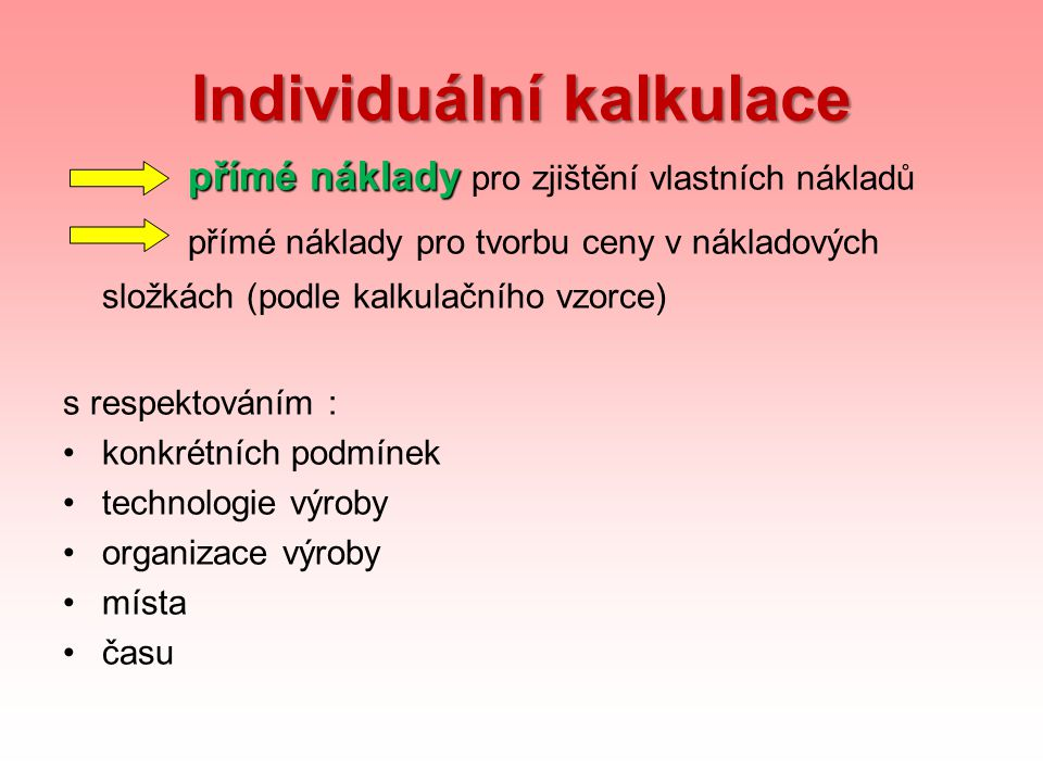 Individuální kalkulace