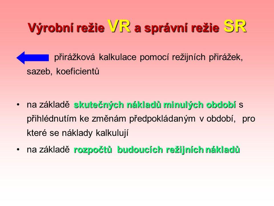 Výrobní režie VR a správní režie SR