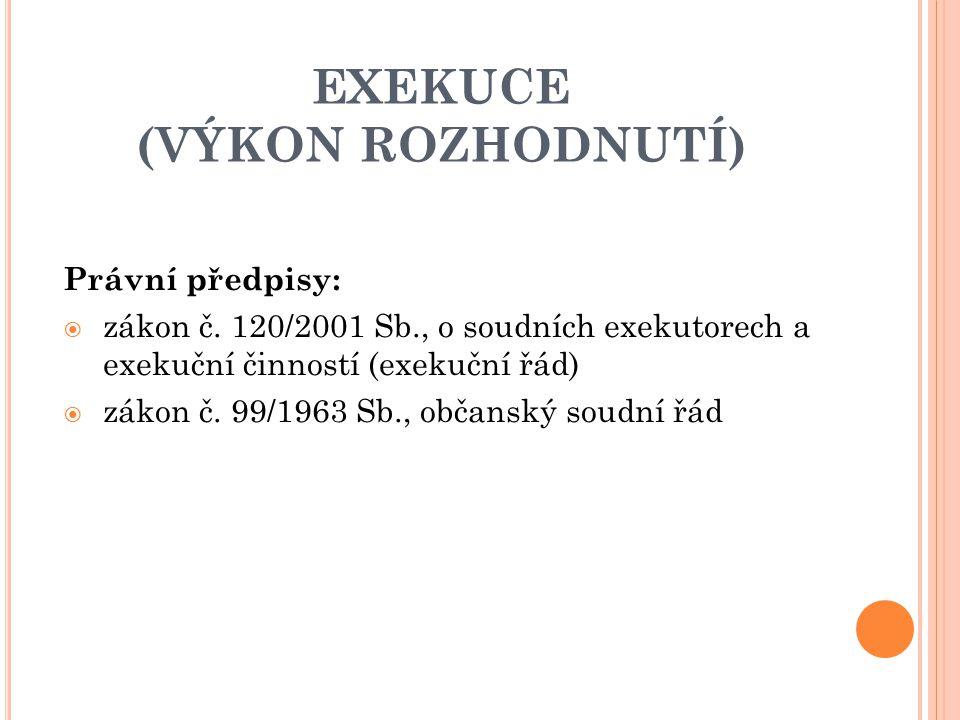 EXEKUCE (VÝKON ROZHODNUTÍ)