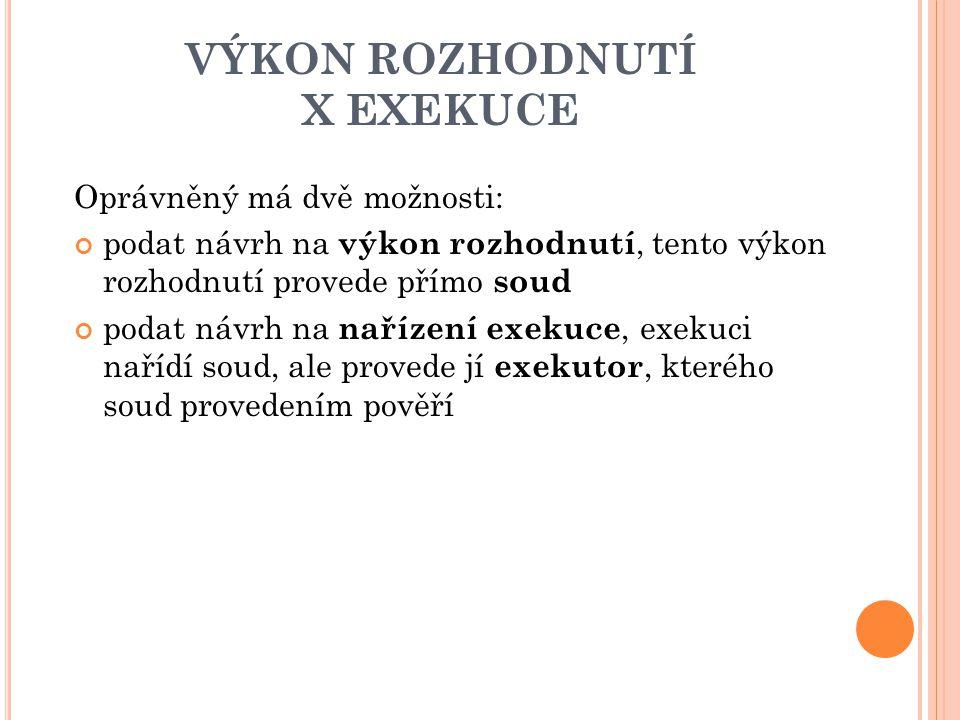 VÝKON ROZHODNUTÍ X EXEKUCE