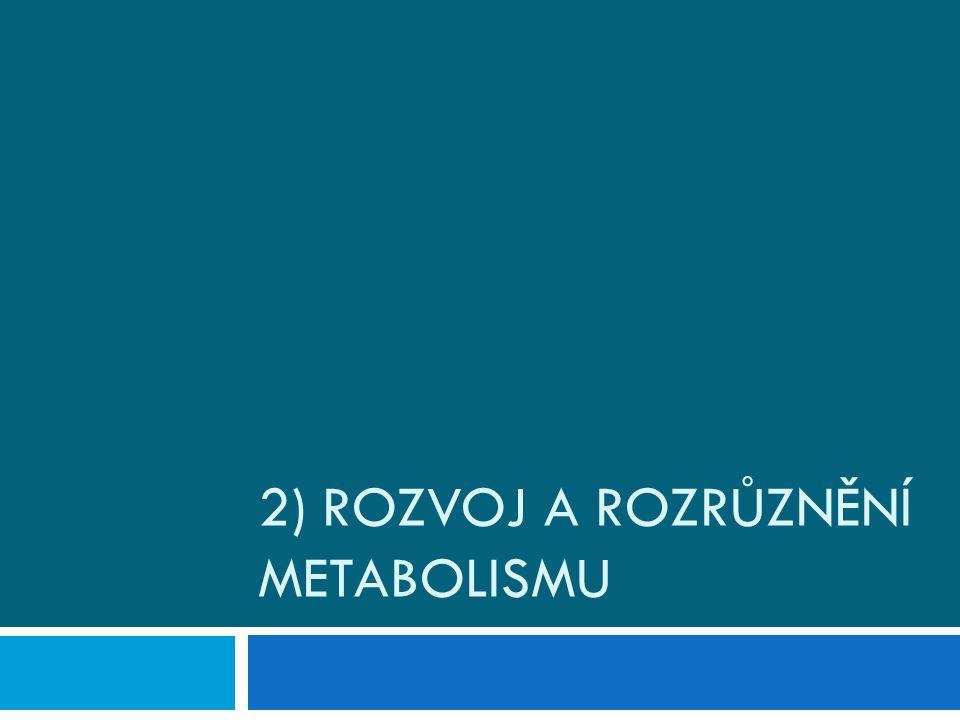 2) Rozvoj a rozrůznění metabolismu