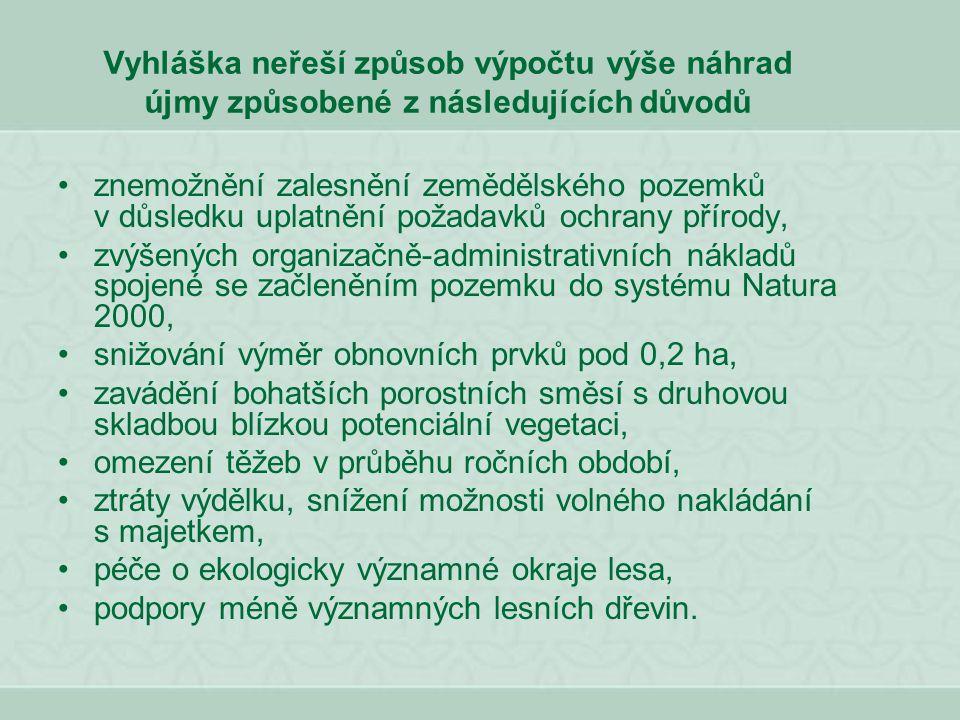 Vyhláška neřeší způsob výpočtu výše náhrad újmy způsobené z následujících důvodů