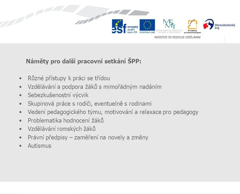Náměty pro další pracovní setkání ŠPP: