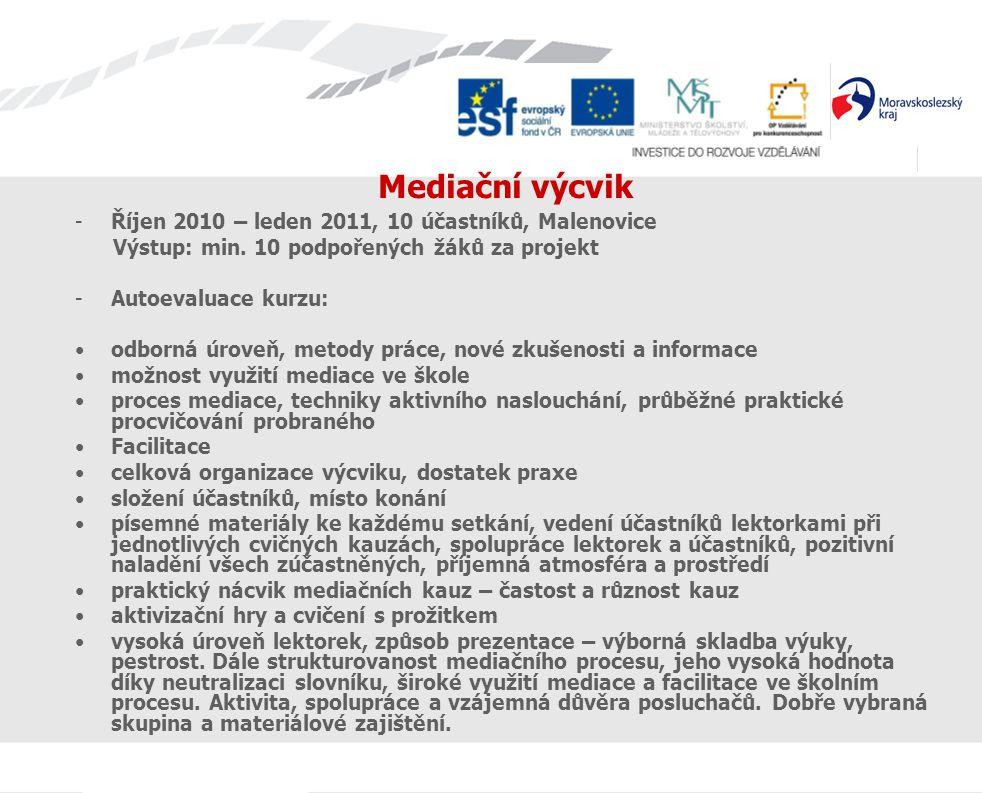 Mediační výcvik Říjen 2010 – leden 2011, 10 účastníků, Malenovice