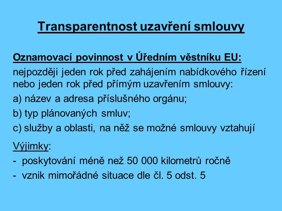 Transparentnost uzavření smlouvy