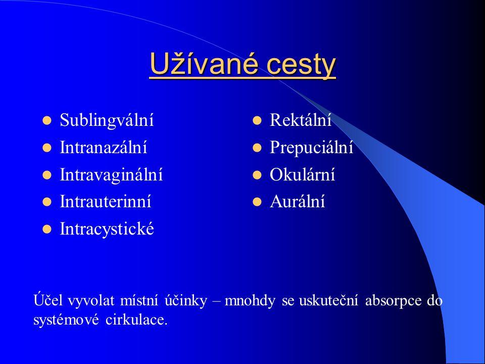 Užívané cesty Sublingvální Intranazální Intravaginální Intrauterinní