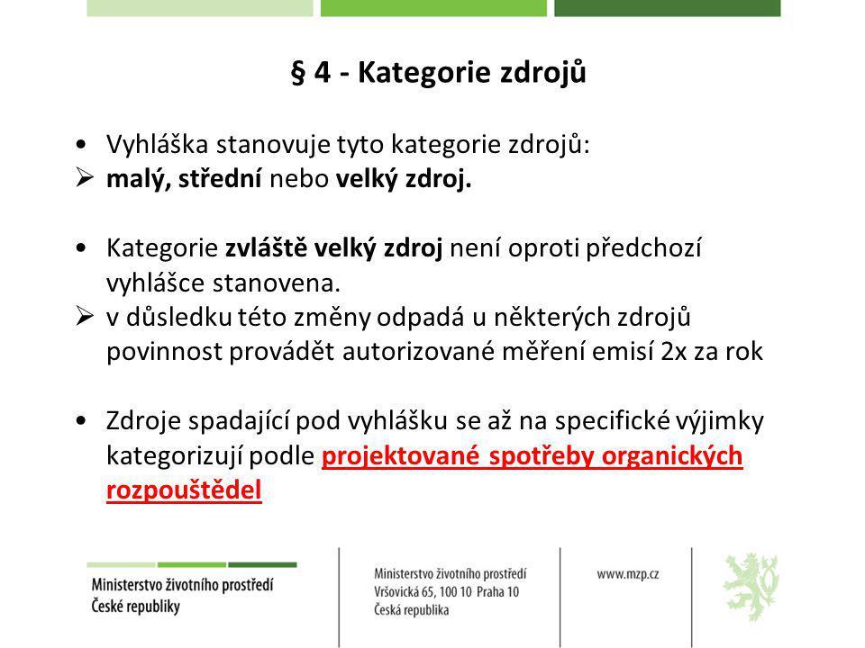 § 4 - Kategorie zdrojů Vyhláška stanovuje tyto kategorie zdrojů: