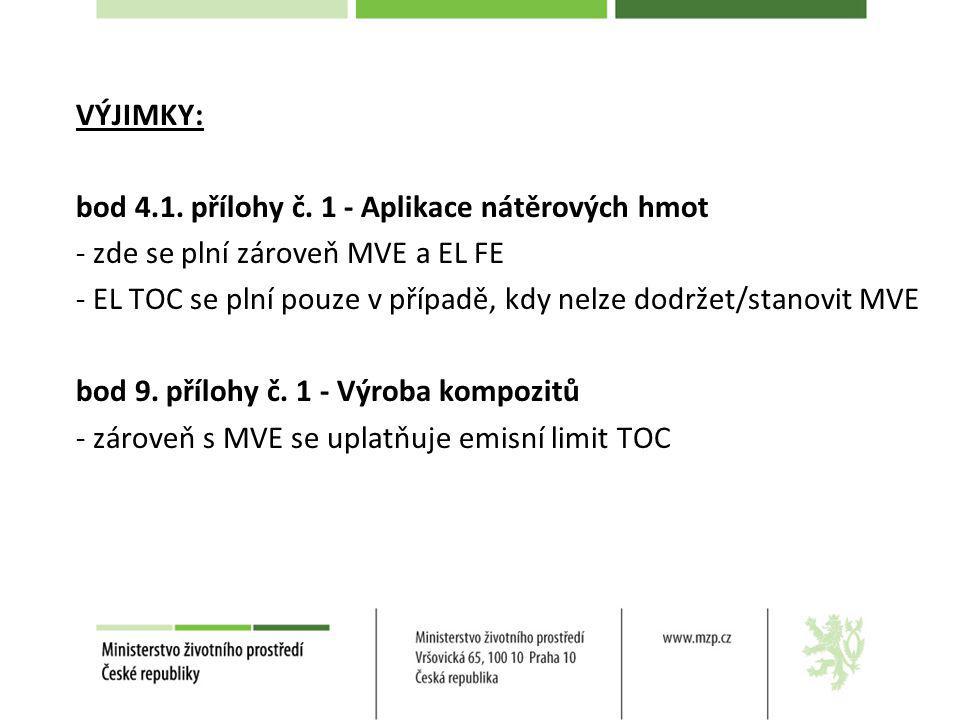 VÝJIMKY: bod 4.1. přílohy č. 1 - Aplikace nátěrových hmot. - zde se plní zároveň MVE a EL FE.