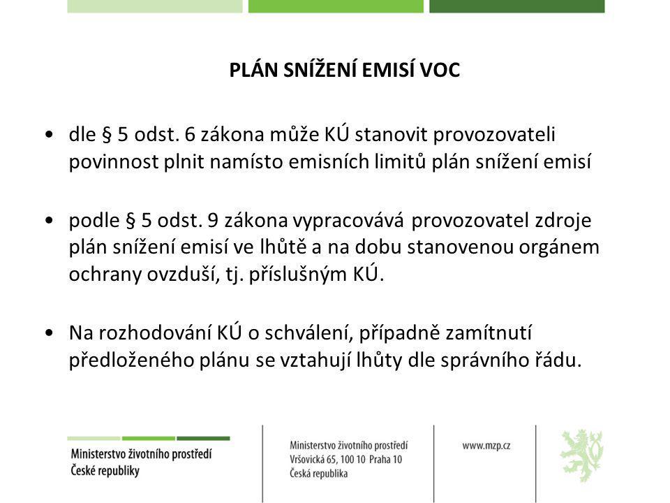 PLÁN SNÍŽENÍ EMISÍ VOC dle § 5 odst. 6 zákona může KÚ stanovit provozovateli povinnost plnit namísto emisních limitů plán snížení emisí.