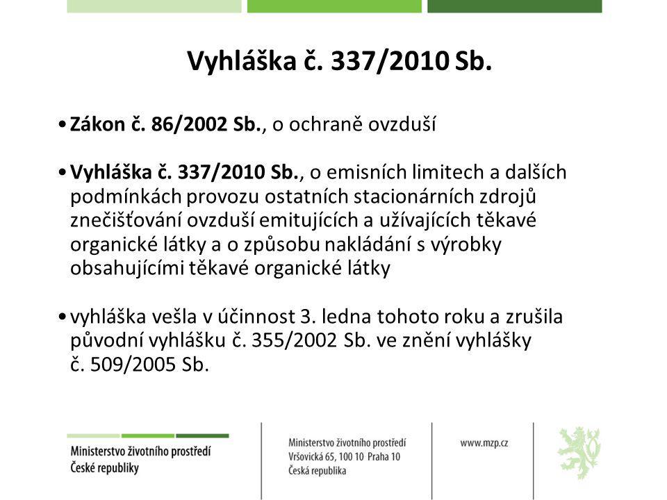 Vyhláška č. 337/2010 Sb. Zákon č. 86/2002 Sb., o ochraně ovzduší