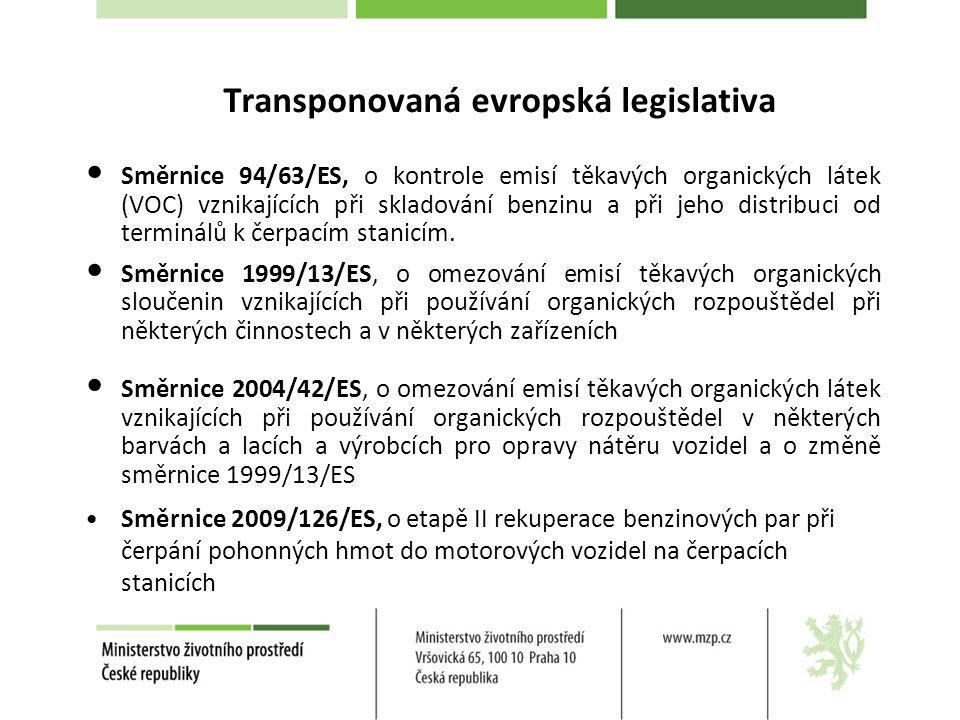 Transponovaná evropská legislativa