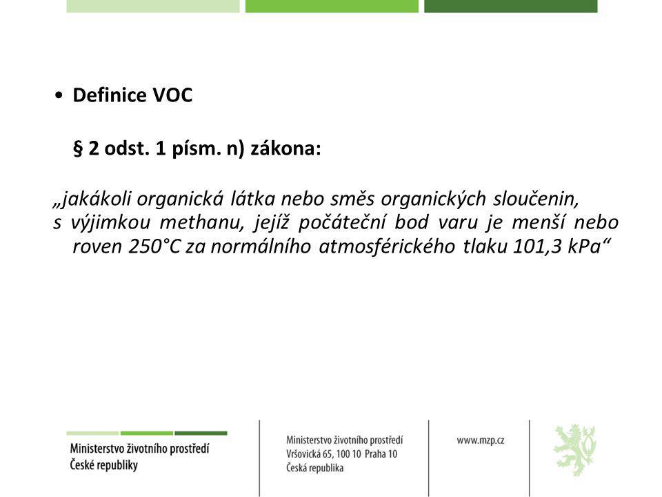 """Definice VOC § 2 odst. 1 písm. n) zákona: """"jakákoli organická látka nebo směs organických sloučenin,"""