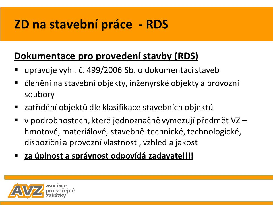 ZD na stavební práce - RDS