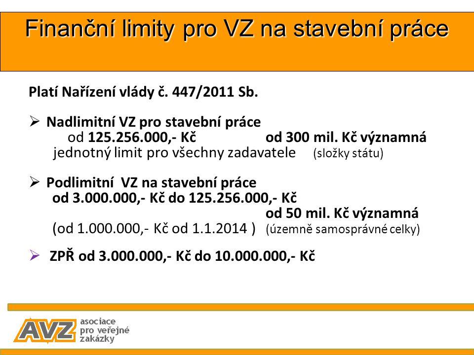 Finanční limity pro VZ na stavební práce