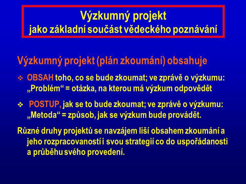 Výzkumný projekt jako základní součást vědeckého poznávání
