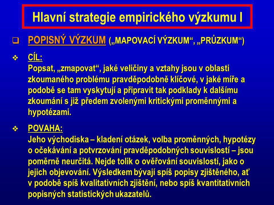 Hlavní strategie empirického výzkumu I