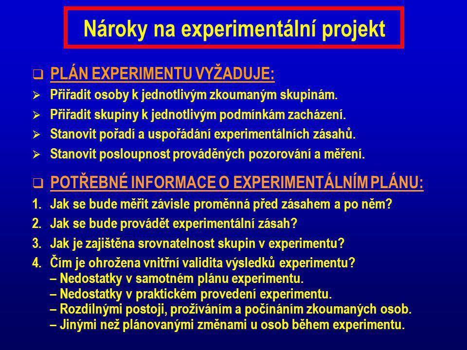 Nároky na experimentální projekt