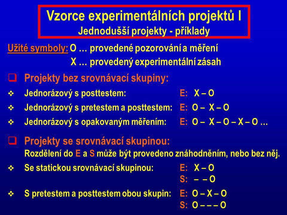 Vzorce experimentálních projektů I Jednodušší projekty - příklady