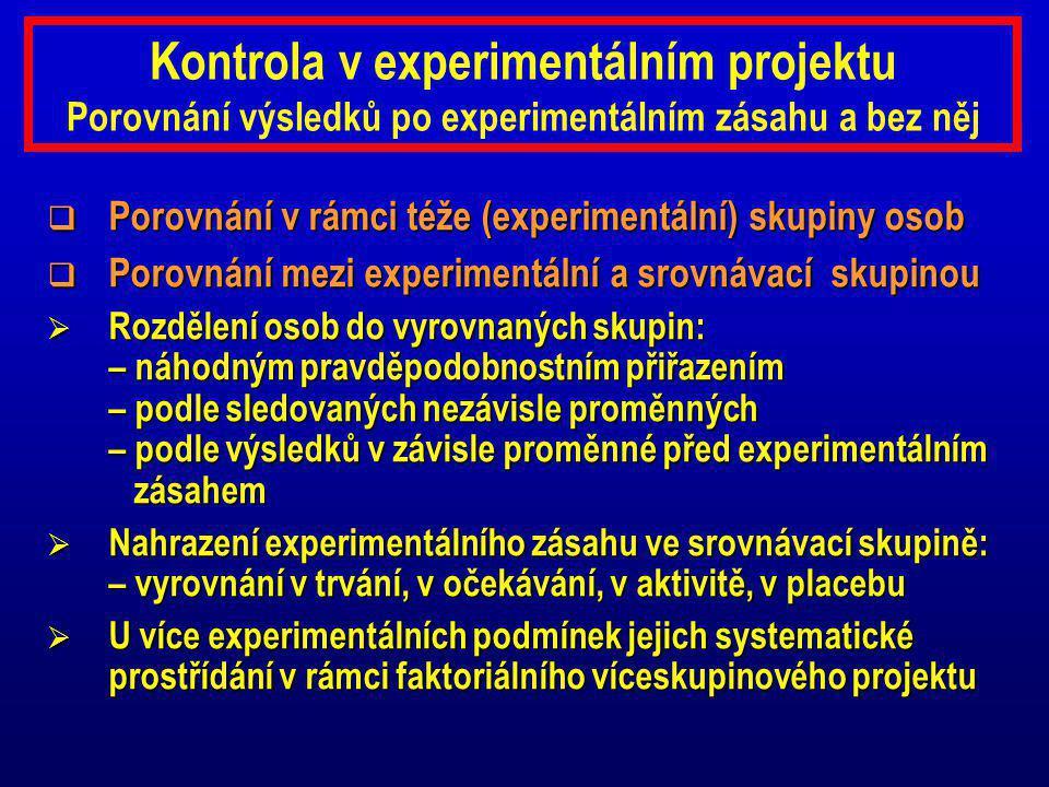 Kontrola v experimentálním projektu Porovnání výsledků po experimentálním zásahu a bez něj
