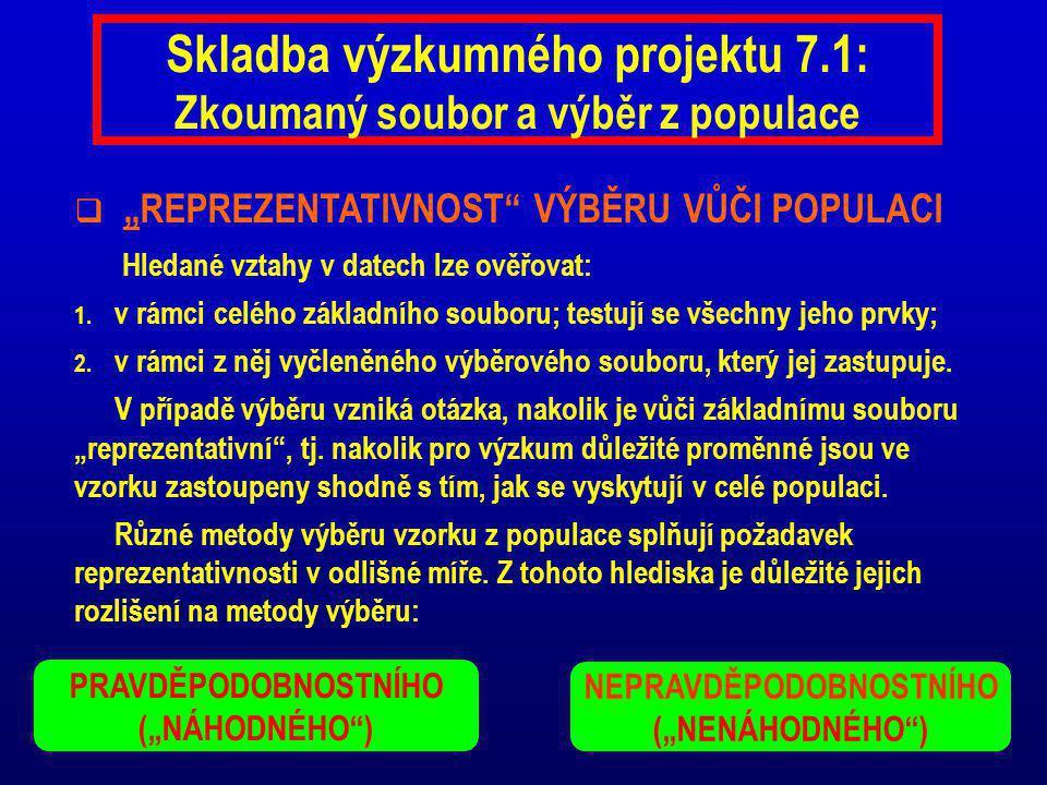 Skladba výzkumného projektu 7.1: Zkoumaný soubor a výběr z populace
