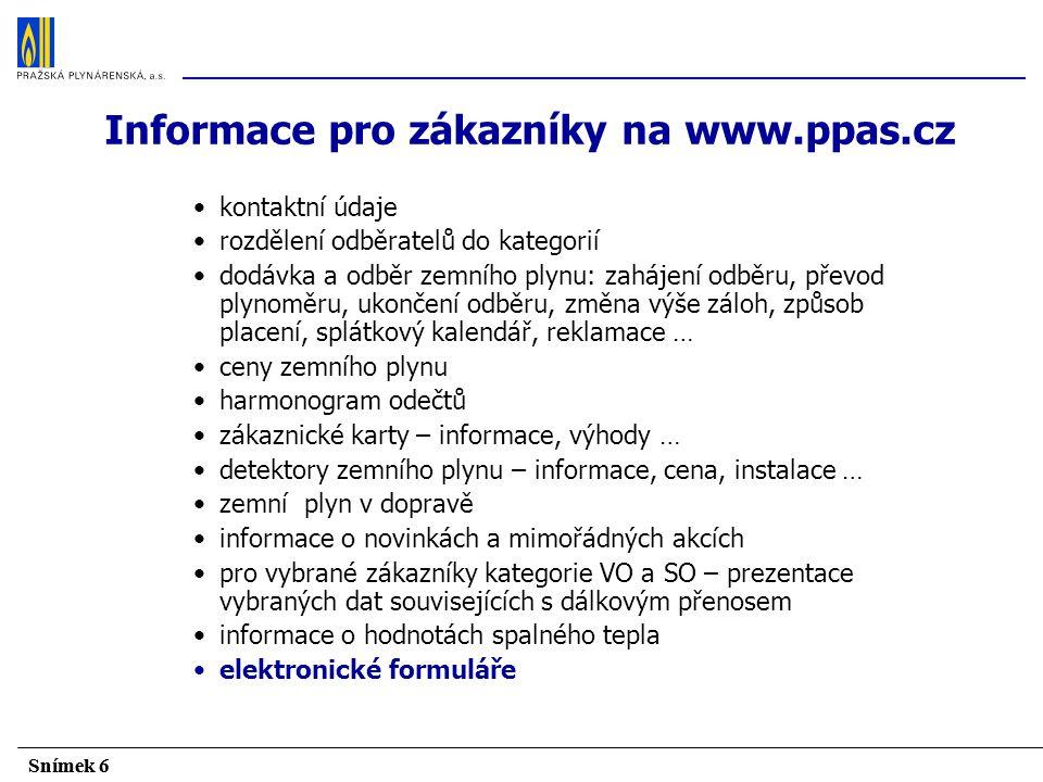 Informace pro zákazníky na www.ppas.cz