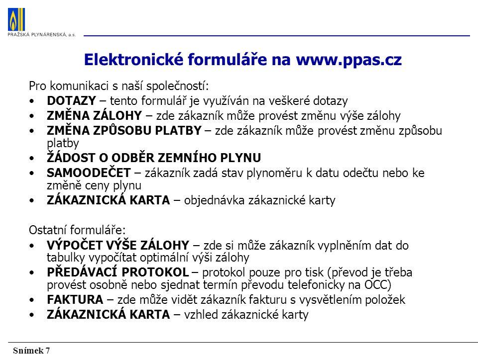 Elektronické formuláře na www.ppas.cz