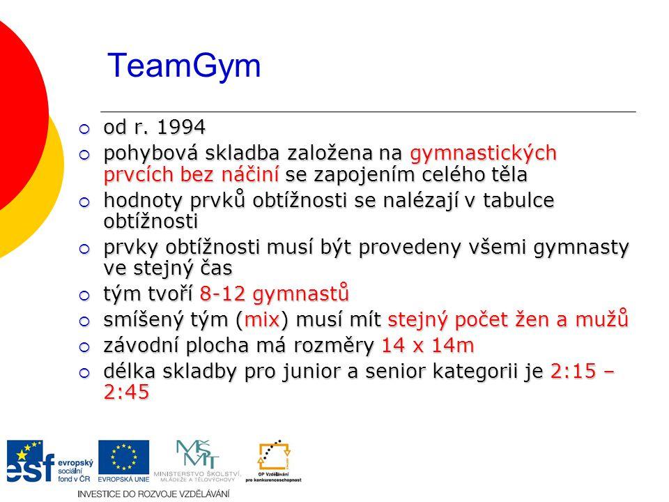 TeamGym od r. 1994. pohybová skladba založena na gymnastických prvcích bez náčiní se zapojením celého těla.