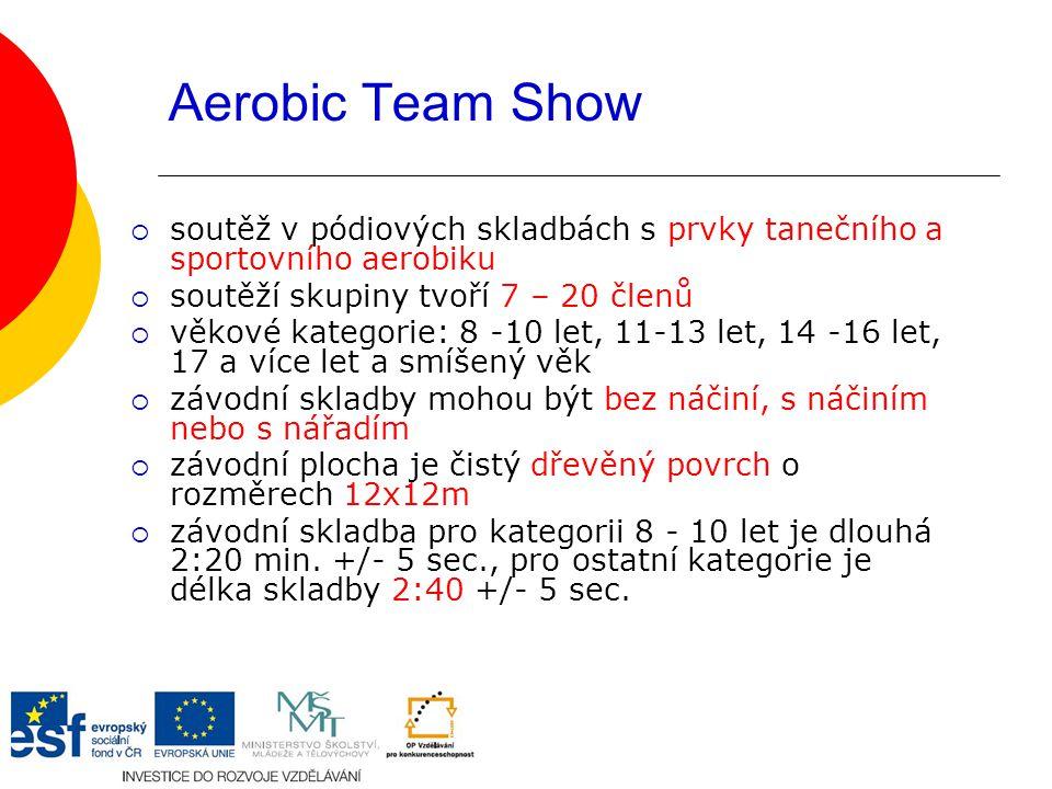 Aerobic Team Show soutěž v pódiových skladbách s prvky tanečního a sportovního aerobiku. soutěží skupiny tvoří 7 – 20 členů.