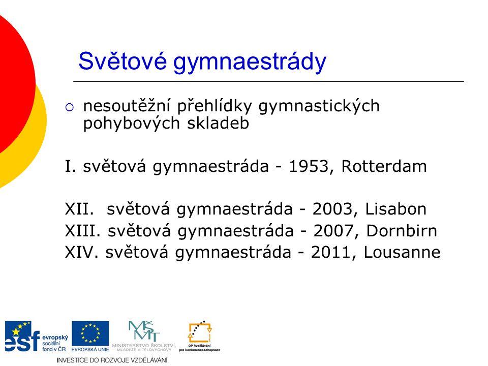 Světové gymnaestrády nesoutěžní přehlídky gymnastických pohybových skladeb. I. světová gymnaestráda - 1953, Rotterdam.