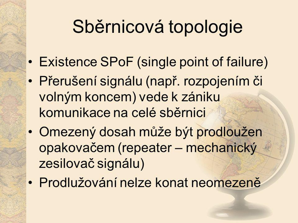 Sběrnicová topologie Existence SPoF (single point of failure)