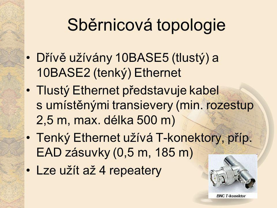 Sběrnicová topologie Dřívě užívány 10BASE5 (tlustý) a 10BASE2 (tenký) Ethernet.