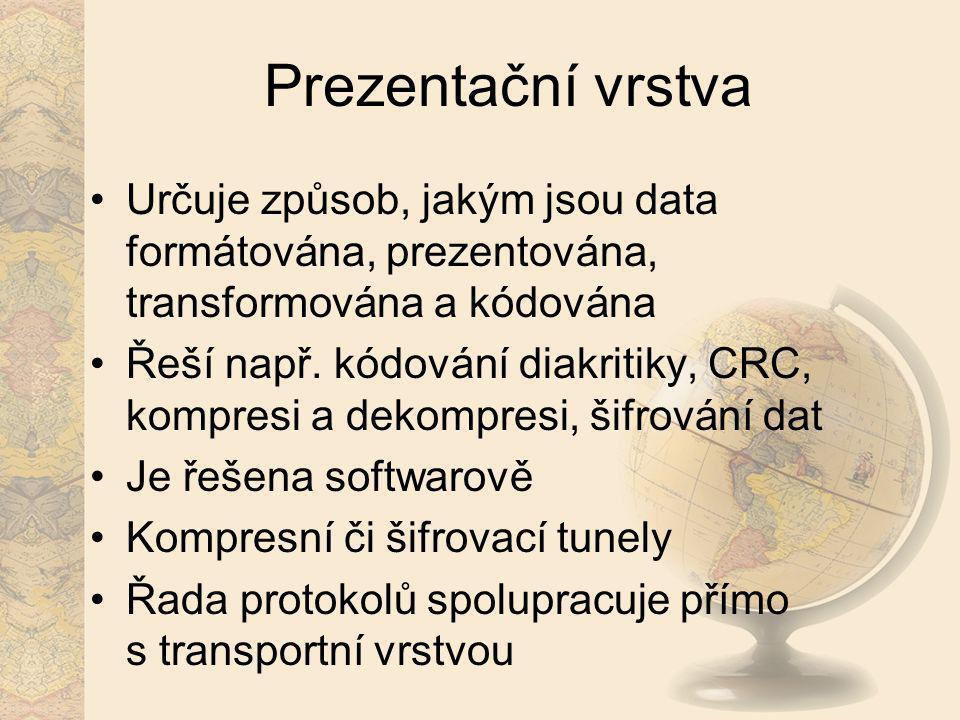 Prezentační vrstva Určuje způsob, jakým jsou data formátována, prezentována, transformována a kódována.