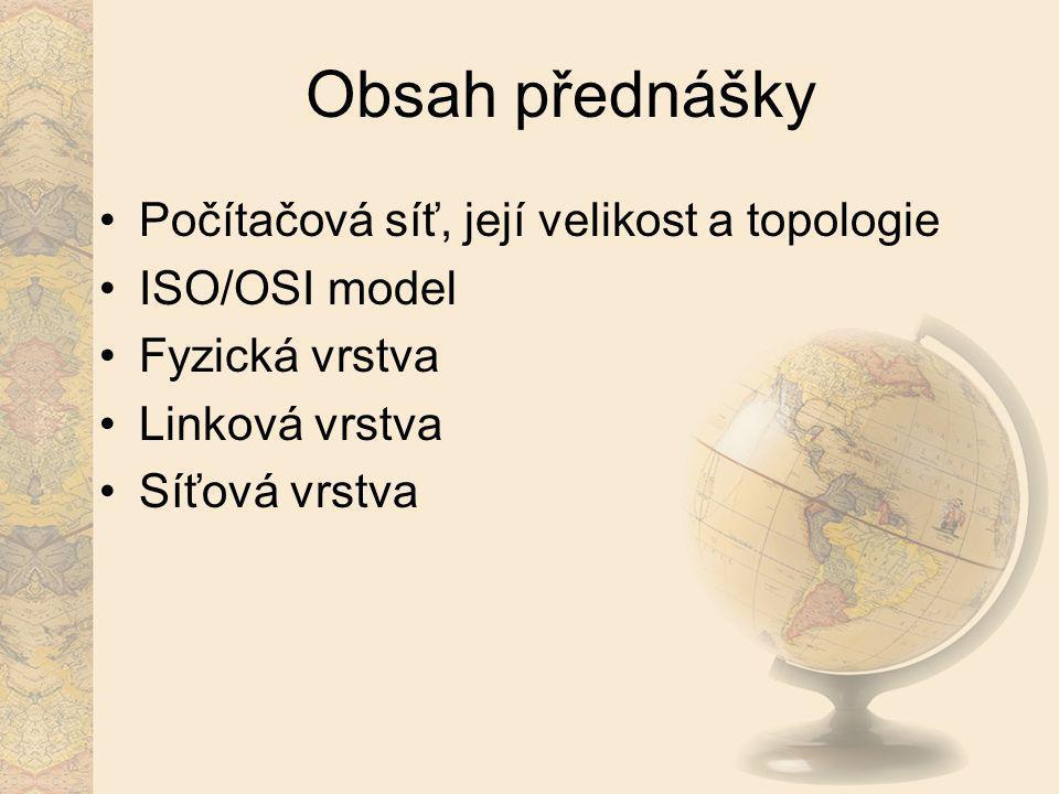 Obsah přednášky Počítačová síť, její velikost a topologie