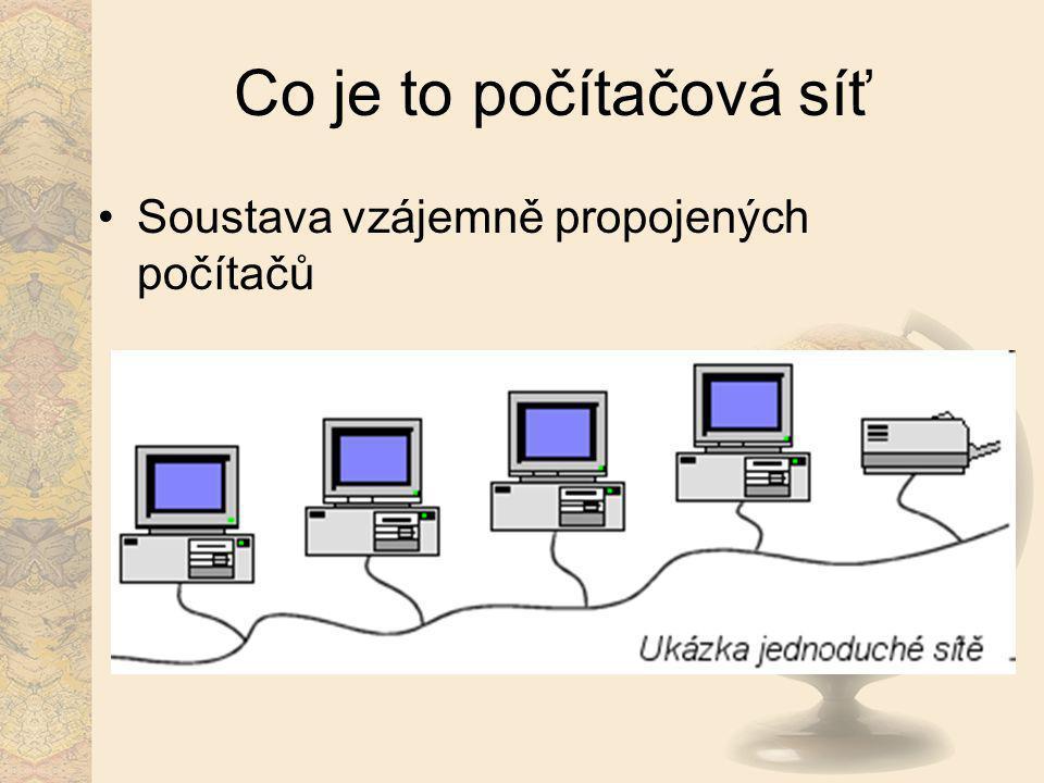 Co je to počítačová síť Soustava vzájemně propojených počítačů