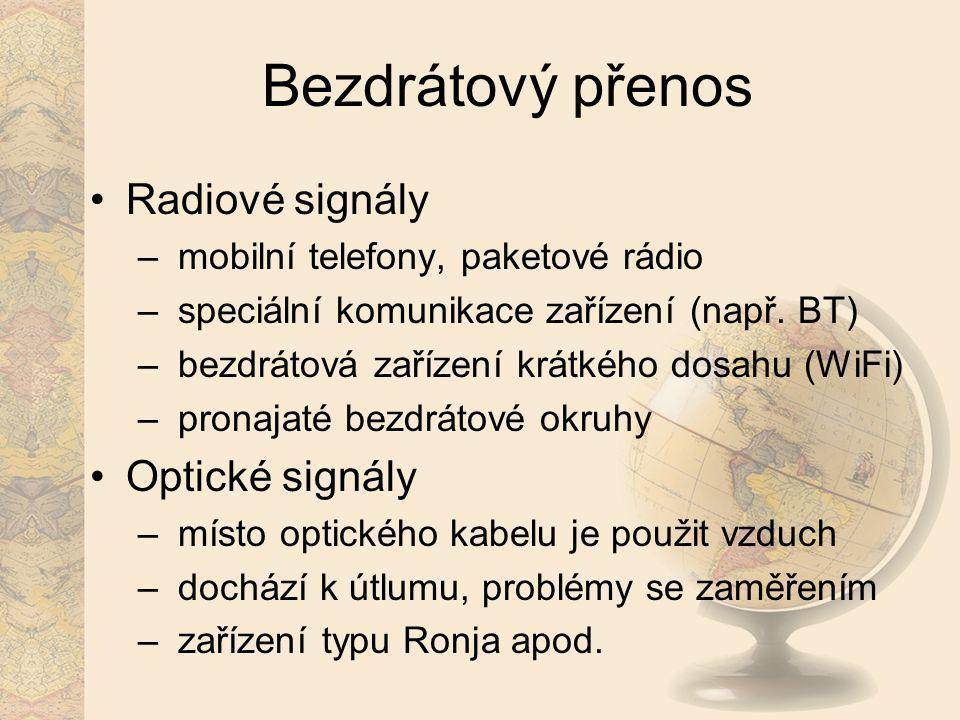Bezdrátový přenos Radiové signály Optické signály