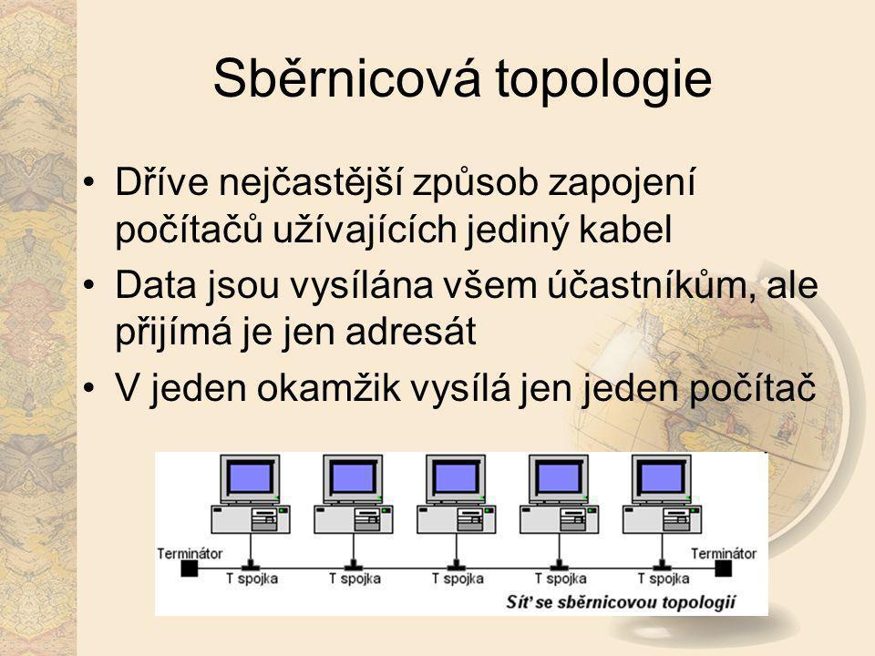Sběrnicová topologie Dříve nejčastější způsob zapojení počítačů užívajících jediný kabel.