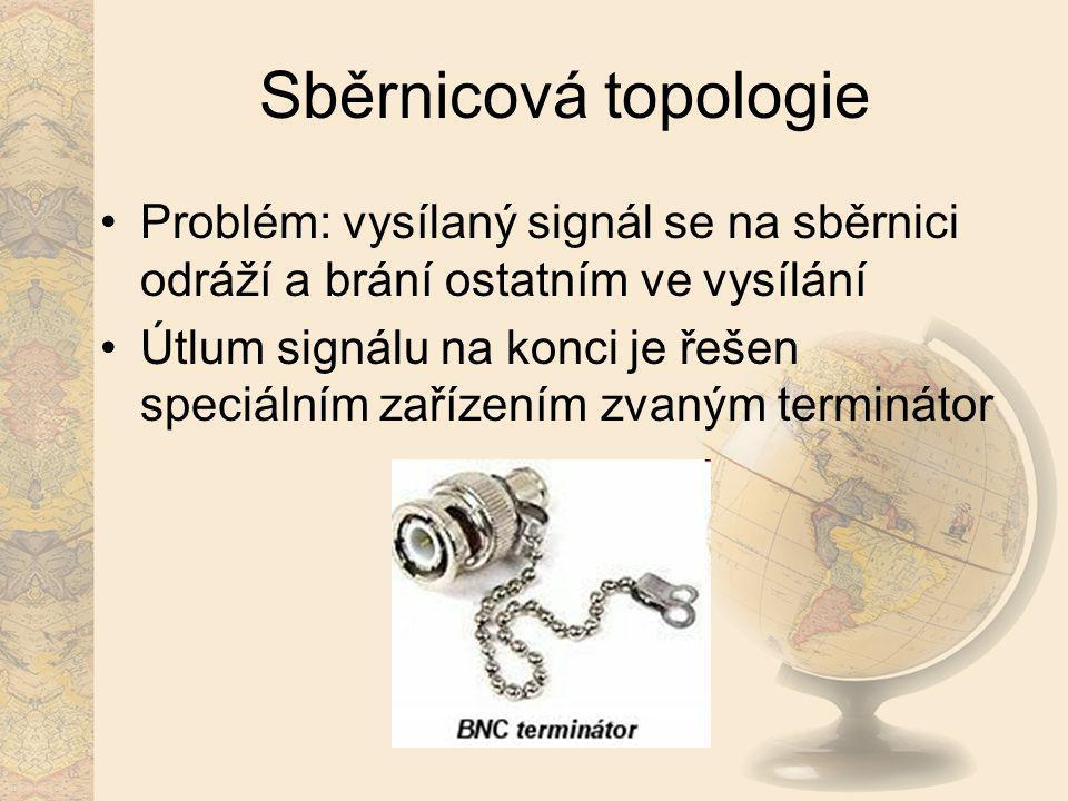 Sběrnicová topologie Problém: vysílaný signál se na sběrnici odráží a brání ostatním ve vysílání.