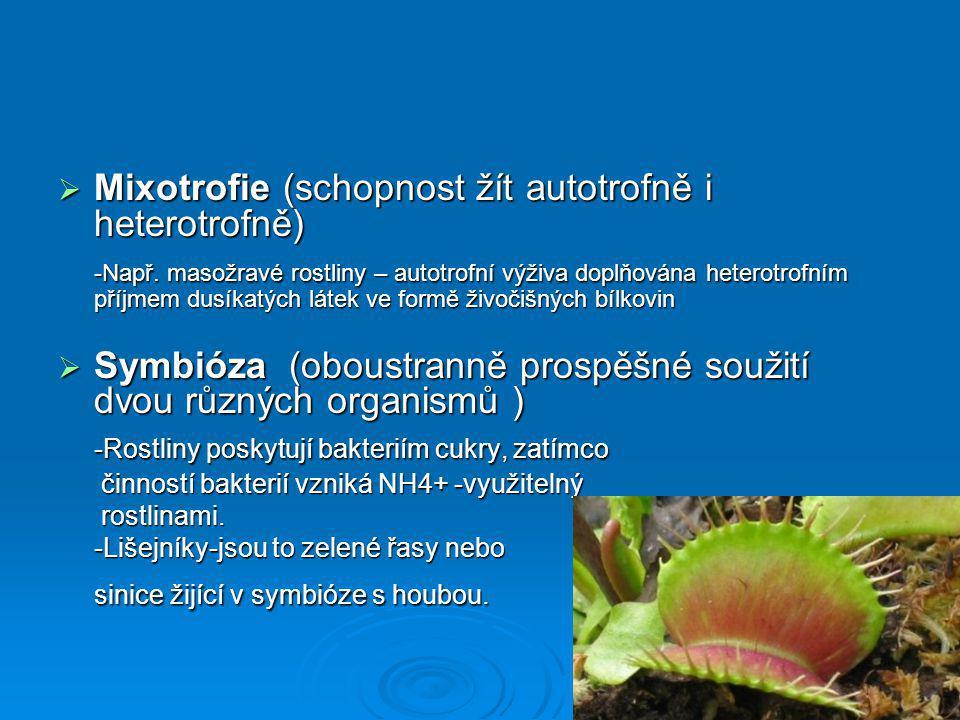 Mixotrofie (schopnost žít autotrofně i heterotrofně)