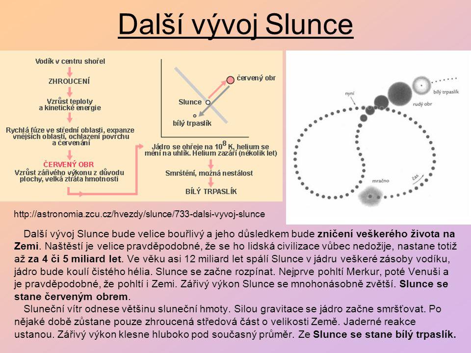 Další vývoj Slunce http://astronomia.zcu.cz/hvezdy/slunce/733-dalsi-vyvoj-slunce.