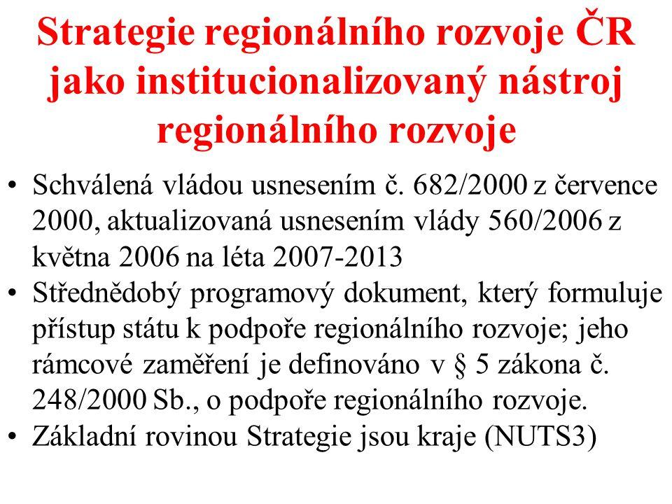 Strategie regionálního rozvoje ČR jako institucionalizovaný nástroj regionálního rozvoje