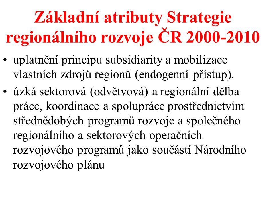Základní atributy Strategie regionálního rozvoje ČR 2000-2010