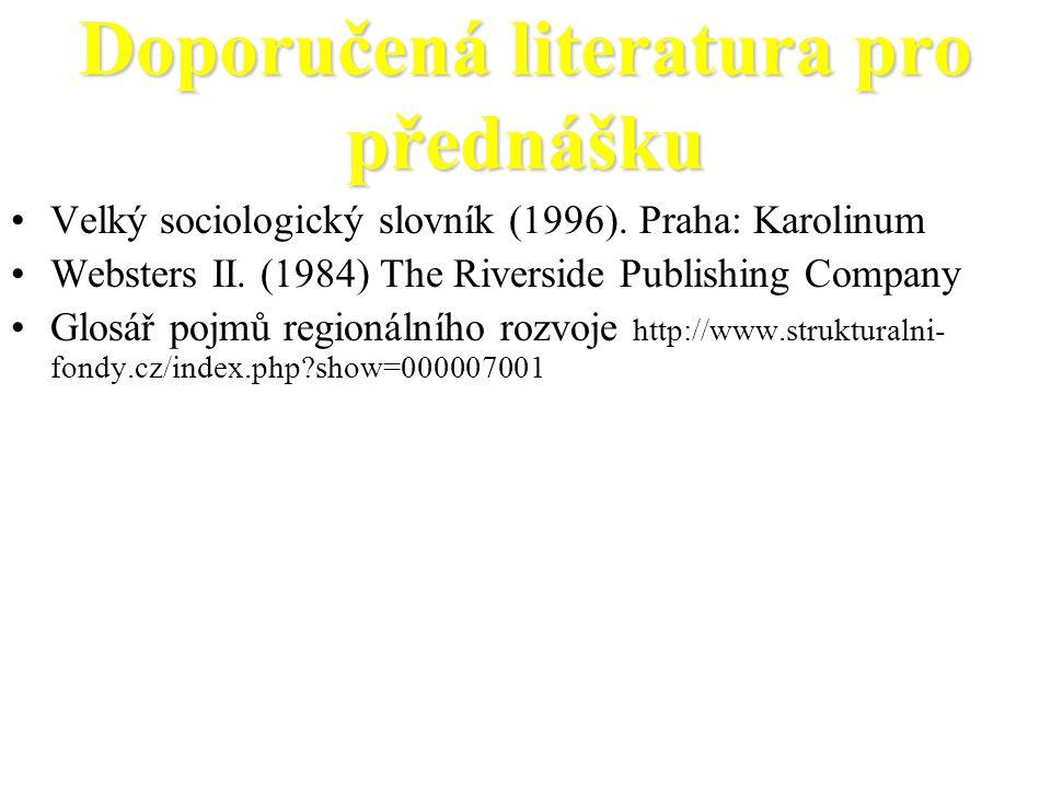 Doporučená literatura pro přednášku