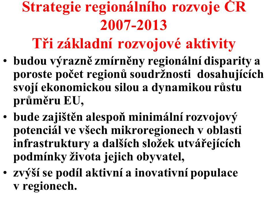 Strategie regionálního rozvoje ČR 2007-2013 Tři základní rozvojové aktivity
